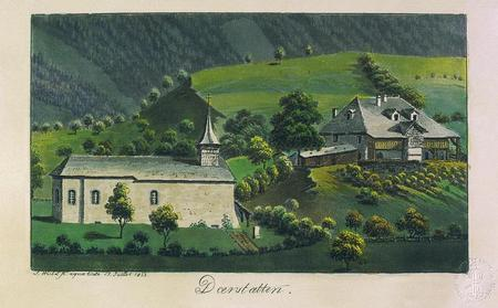 L'église et la cure. Aquatinte aquarellée de Samuel Weibel, 1822 (Bibliothèque nationale suisse, Collection Gugelmann).