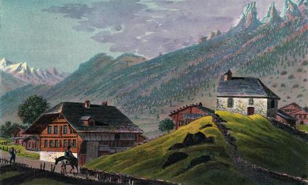 La cure et l'église sur le Bühl. Aquatinte aquarellée de Samuel Weibel, vers 1823 (Bibliothèque nationale suisse, Collection Gugelmann).