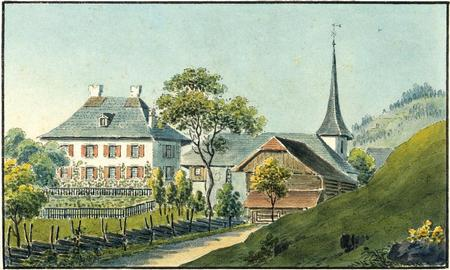 La cure et l'église. Aquarelle de Samuel Weibel, 1825 (Bibliothèque nationale suisse, Collection Gugelmann).