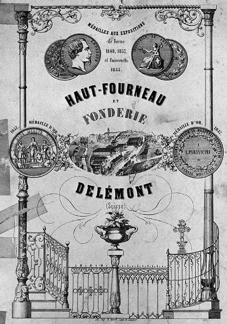 Page de couverture du catalogue de la fonderie Paravicini, vers 1860 (Collection privée; photographie Jacques Bélat).