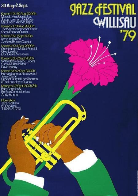 Affiche du Festival international de jazz de Willisau en 1979, réalisée par son organisateur, Niklaus Troxler (Bibliothèque nationale suisse, Collection d'affiches).