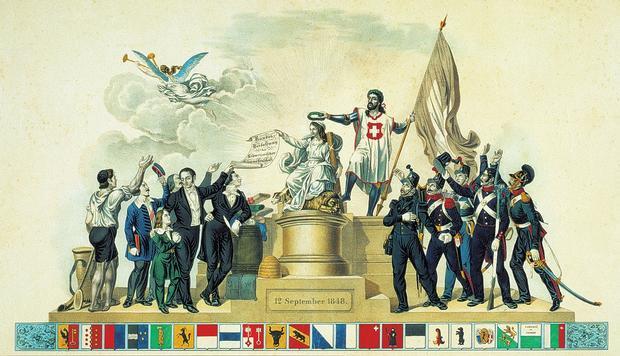 Ausschnitt aus dem Gedenkblatt, das anlässlich der Einführung der Bundesverfassung vom 12. September 1848 erschien. Lithografie von C. Studer, Winterthur, gedruckt von J.J. Ulrich, Zürich (Burgerbibliothek Bern).
