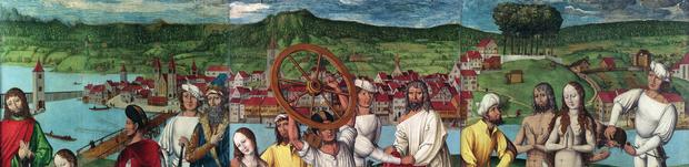 Martyrium der Heiligen Zürichs. Tempera auf Holz von Hans Leu dem Älteren, um 1500 (Schweizerisches Nationalmuseum).