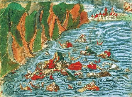 Inondazione e naufragio nel 1570 sul lago di Walenstadt. Disegno a penna acquerellato tratto da uno dei 24 volumi manoscritti realizzati da Johann Jakob Wick (Zentralbibliothek Zürich, Handschriftenabteilung, Wickiana, Ms. F 19, fol. 3v).
