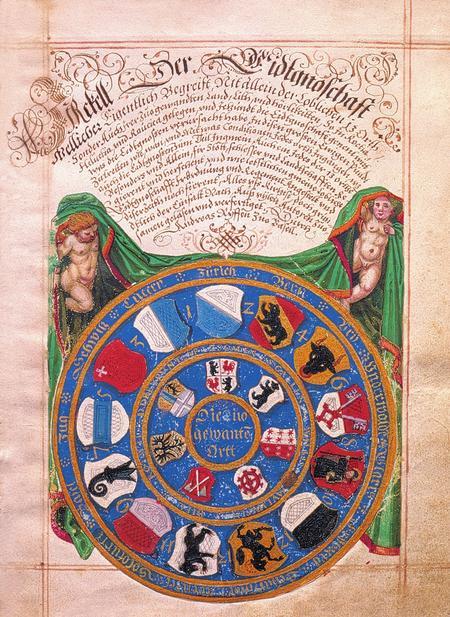 Frontespizio della cronaca Zirkel der Eidgenossenschaft del Consigliere basilese Andreas Ryff, 1597 (Musée historique de Mulhouse; fotografia Christian Kempf, Colmar).