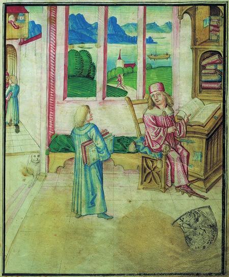 Diebold Schilling davanti al suo leggio, così come rappresentato dal disegnatore nel terzo volume dell'Amtliche Berner Chronik del 1483 (Burgerbibliothek Bern, Mss.h.h.I.3, p. 7).