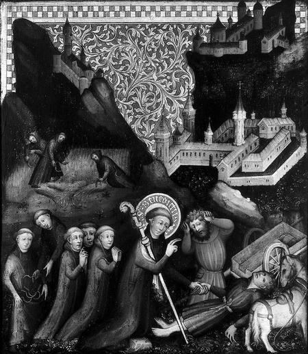 S. Benedetto assiste un ferito assieme ad alcuni monaci. Olio su legno anonimo, 1440 ca. (Museo nazionale svizzero, IN-6942).