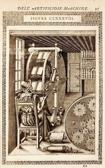 Lesemaschine bzw. Bücherrad. Illustration in Agostino Ramellis Werk Le Diverse Et Artificiose Machine, Paris, 1588, S. 317 (Schweizerische Nationalbibliothek).