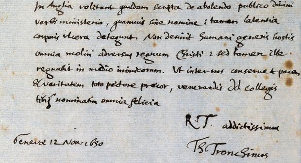Estratto di una lettera manoscritta, in lingua latina, indirizzata da Théodore Tronchin, pastore riformato di Ginevra, allo zurighese Johann Rudolf Stucki il 12.11.1650 (Universitätsbibliothek Basel, Frey-Gryn Mscr II 22, n. 183).