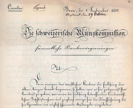 Copia di una circolare dell'1.9.1851 emanata dalla commissione federale monetaria (Universitätsbibliothek Basel, H I 62, fol. 36r).