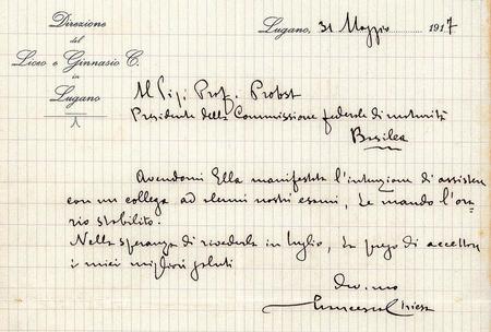 Appunto manoscritto di Francesco Chiesa del 31.5.1917 redatto all'attenzione del professore Probst di Basilea, presidente della commissione federale di maturità (Universitätsbibliothek Basel, Autographensammlung C).