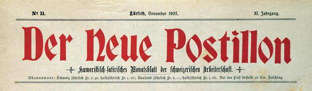 En-tête du journal Der Neue Postillon, novembre 1905 (Musée national suisse, documentation).