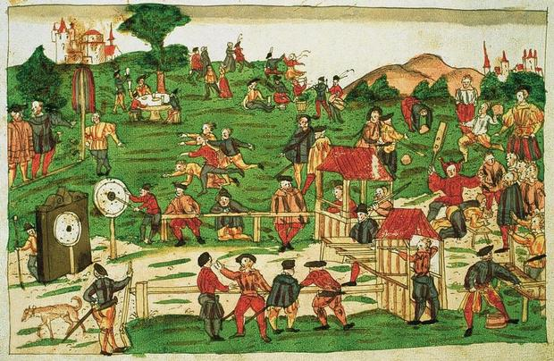 Fête de tir à Saint-Gall en 1583. Illustration de la chronique du chanoine Johann Jakob Wick (Zentralbibliothek Zürich, Handschriftenabteilung, Wickiana, Ms. F 19, fol. 172r).